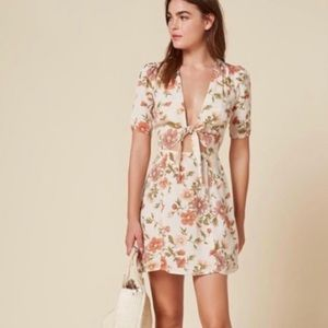 Reformation Floral Grace tie in the front dress 8